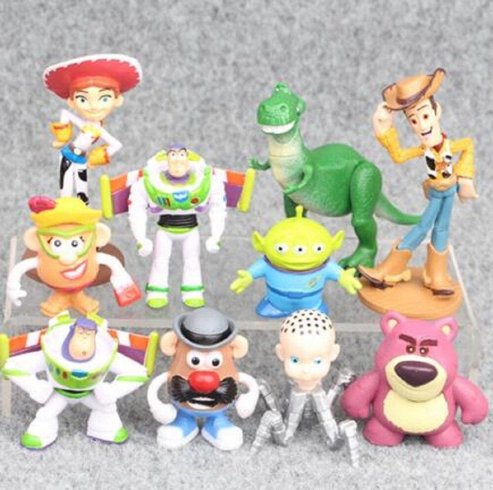 Toy Story Figure Toy Woody Buzz Lightyear Jessie Rex Mr Potato Head Little Green Men Lot Mini Baby Toys 10pcs/set