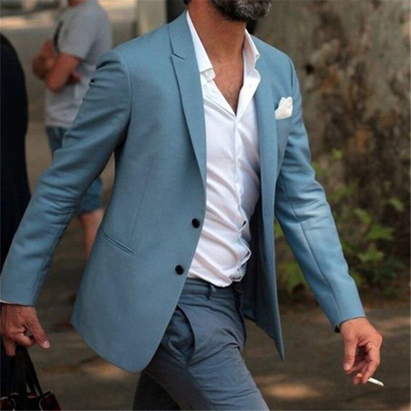2017 Most Fashion Elegant Blue Men Suit Grey Pants Beach Wedding Tuxedo Custom Young Men Casual Suits Wear Vestido(Jacket+Pants)