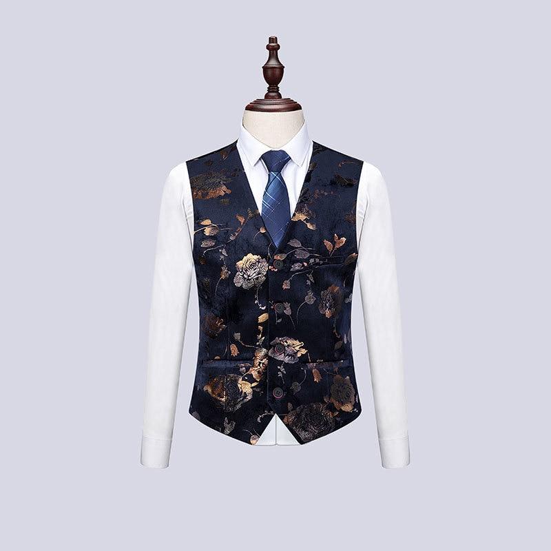 Tela de alta calidad con estampado dorado vestido ajustado para Hombre Trajes para boda traje de 3 piezas para hombre cantante de Club nocturno traje Homme - 2