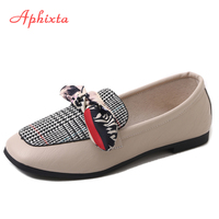 Aphixta Loafers Women Flats Heel Warm Gingham Butterfly Knot Square Toe Female Ladies Casual Slip On