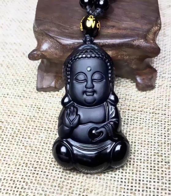 1151 20 De Réductionbelle Chinois Travail Manuel Naturel Noir Obsidienne Sculpté Bébé Bouddha Amulette Chanceux Pendentif Perles Collier