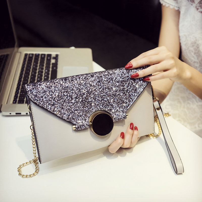 Women Clutch Wallet Fashion PU Leather Envelope Handbag Purse for Female Chain Messenger Bag Metal Lock Evening Bags