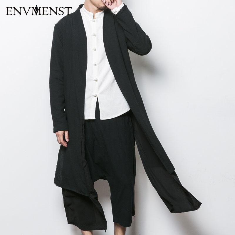 2017 China Style Men 39 S Trench Jacket Male Spring Autumn Kimono Cardigan Coat Punk Fashion Casual