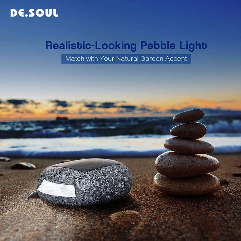DE.SOUL Solar Rechargeable LED Solar Lights Outdoor Bulb Stone Lamp Outdoor For Garden Lamp Decoration Wall Light Waterproof