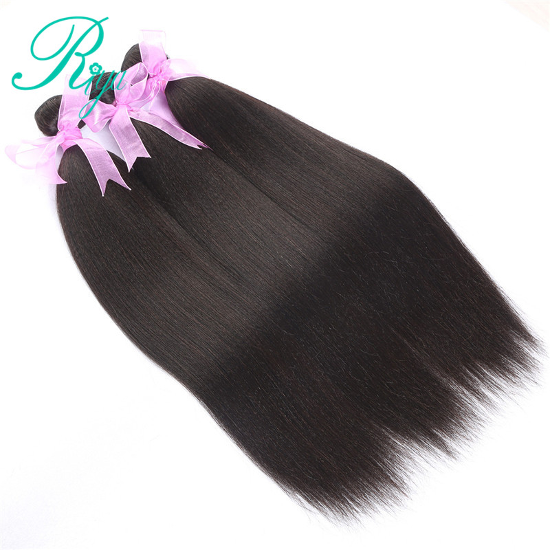 Image 4 - Riya Hair Brazilian Light Yaki Human Hair 3 Bundles 100% Human Hair Weave Natural Color 100% Remy Hair Extensions Free part-in 3/4 Bundles from Hair Extensions & Wigs