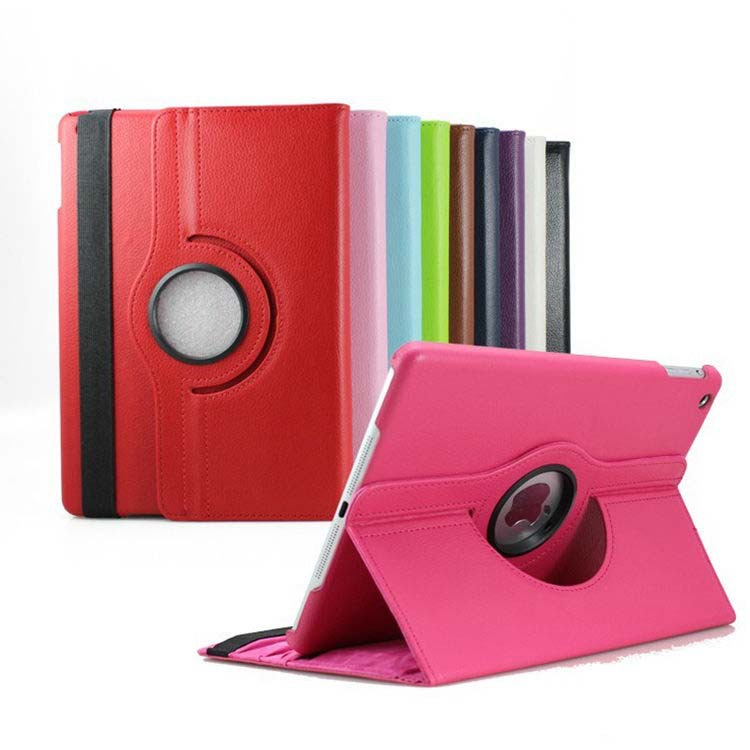 100 pcs lot Leather 360 Rotating Case Stand Smart Cover Magnetic Case For Tablet Apple iPad
