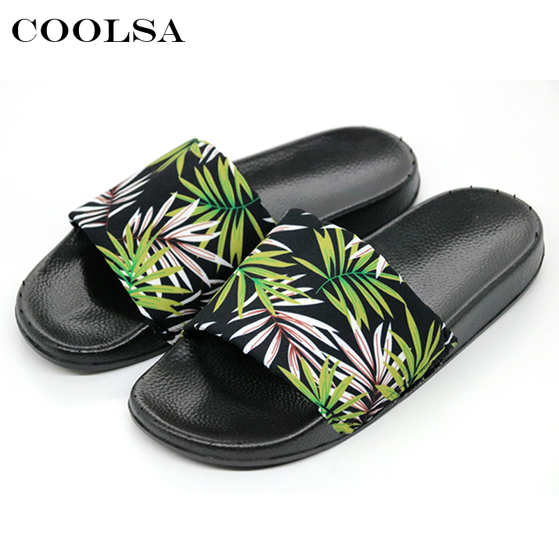 Coolsa Summer Women Printing Flip Flops Canvas Print Leaves Female Soft Flat Slides Indoor Slippers Fashion Casual Beach Sandals fashion summer flat slippers female soft indoor slip resistant outsole flip sandals plus size beach shoes