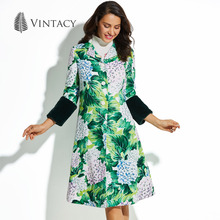 Vintacy Female Vintage Coat Autumn Winter Long Green Print Floral Button Outwear Overcoat Fashion Retro A Line Women Maxi Coat