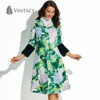 Vintacy Nữ Cổ Điển Áo Mùa Thu Mùa Đông Dài In Màu Xanh Lá Cây Floral Nút Outwear Khoác Thời Trang Retro A Line Phụ Nữ Dài Coat