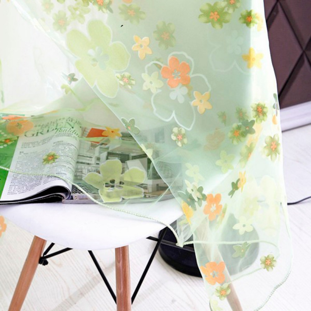 Factory Price! Floral Print Sheer Curtain Panel Window Balcony Tulle Room Divider Scarf Curtain