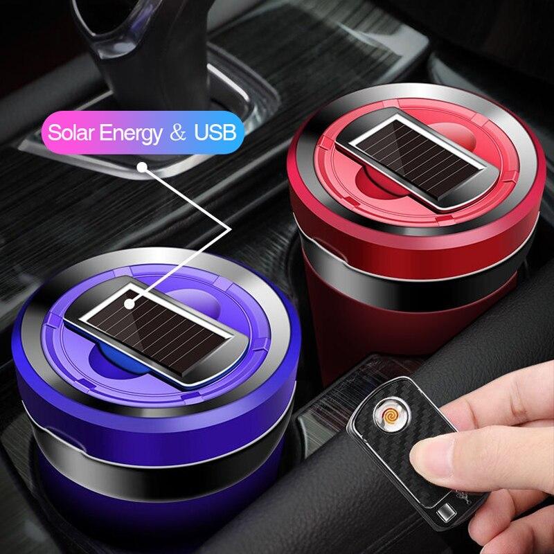 Auto Aschenbecher Wiederaufladbare Solar Energie LED Auto Aschenbecher Abnehmbare Zigarette Leichter Aschenbecher Für Auto Tasse Halter Auto Zubehör