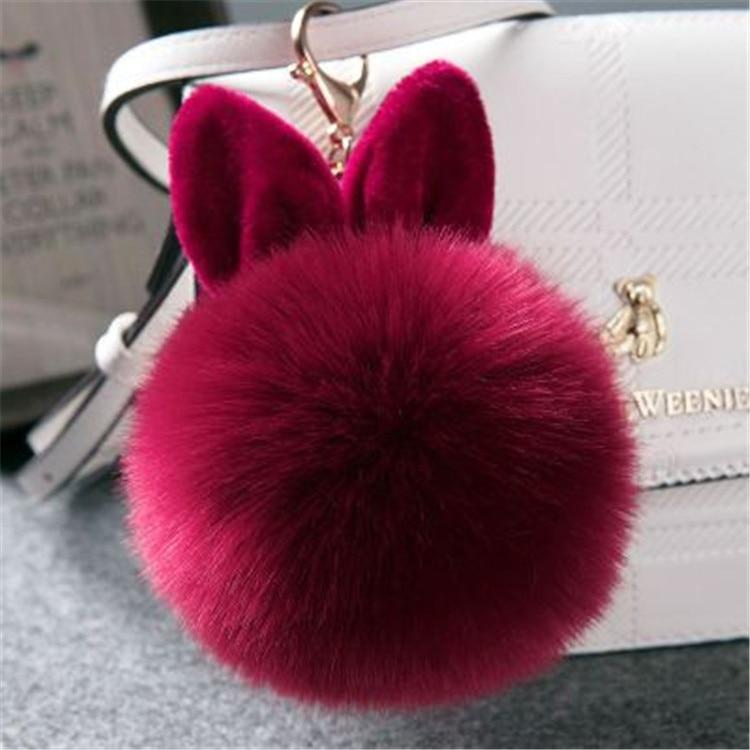 2017 Fur Pom Pom Keychain Fake Rabbit fur ball key chain porte clef pompom de fourrure pompon Bag Charms bunny keychain Keyring 42