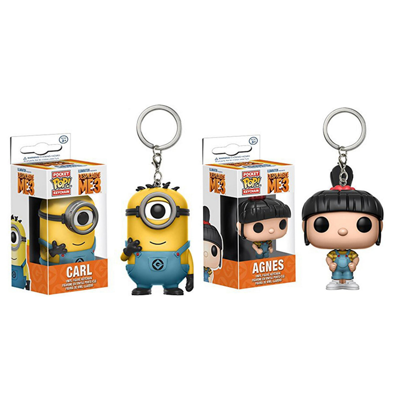 FUNKO POP New Pocket Pop Keychain Official Despicable Me Minion Carl Characters Action Figure Collectible Model Christmas Toys