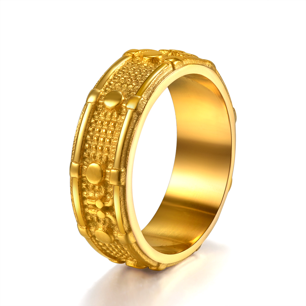 WAWFROK Stainless Steel Gold colour Ring Men Rings 8mm ...
