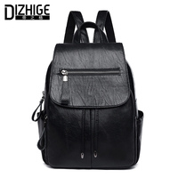 DIZHIGE Brand Black PU Leather Backpack Women Casual School Bags For Teenager Girl High Quality Women