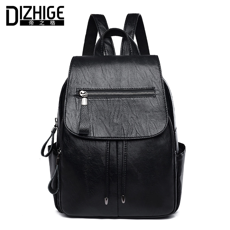 DIZHIGE Brand Black PU Leather Backpack Women Casual School Bags For Teenager Girl High Quality Women Backpack Designer 2017 New dizhige brand women backpack high quality pu leather school bags for teenagers girls backpacks women 2018 new female back pack