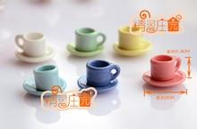 Doll House Tableware Porcelain Miniature Tea Sets Teapot Coffee Plate Cups