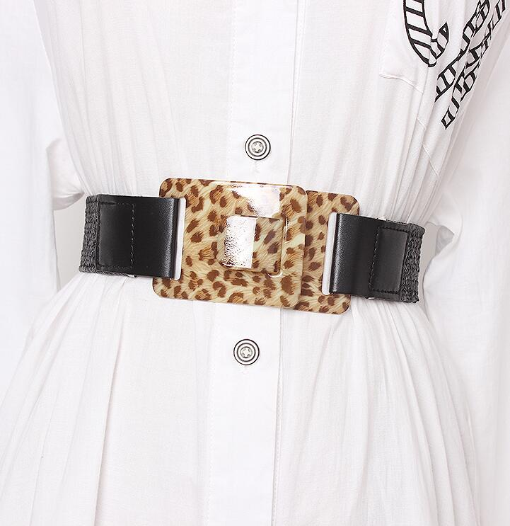 Women's Runway Fashion Leopard Buckle Knitted Cummerbunds Female Dress Corsets Waistband Belts Decoration Wide Belt R1692