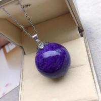 Newly Natural Purple Charoite Gemstone Women Men Pendant 24mm Sphere Ball Charm Beads Russian Charoite Necklace Gift AAAAA