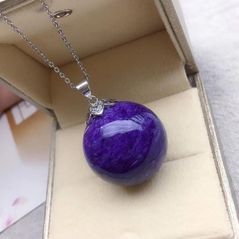 Newly Natural Purple Charoite Gemstone Women Men Pendant 24mm Sphere Ball Charm Beads Russian Charoite Necklace Gift AAAAA