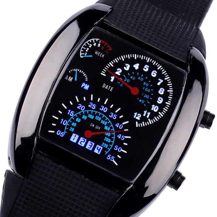 Mode Aviation Turbo Dial-Flash LED Uhr Geschenk Mens Dame Sport Auto Meter