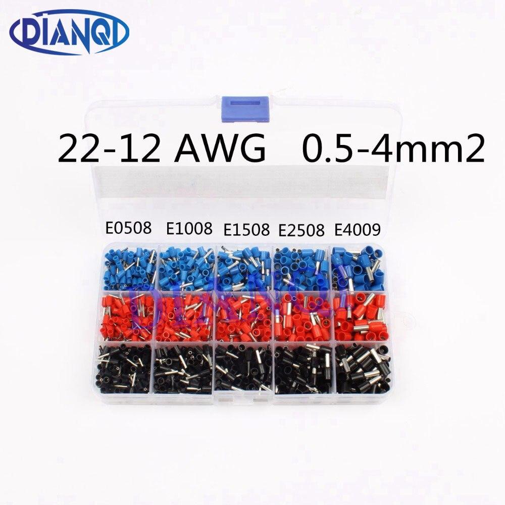 1065 pcs/ensemble 3 couleurs 22 ~ 12AWG Fil De Cuivre À Sertir Connecteur Isolé Cordon Pin Fin Terminal Bootlace cooper Embouts kit ensemble en laiton