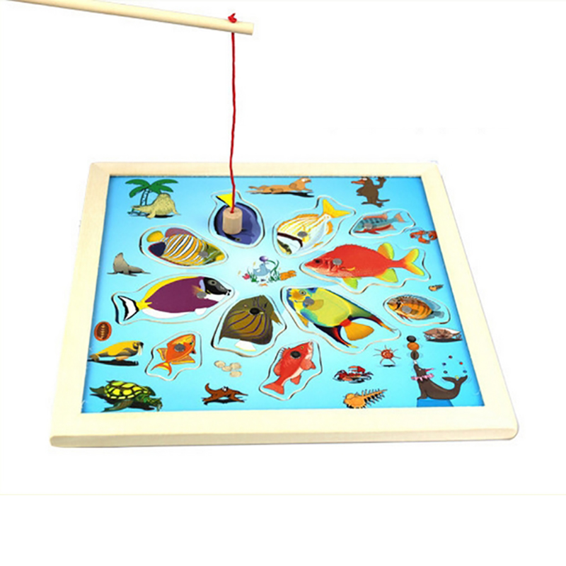 13pcs Magnetic Fishing 3D Wooden Puzzles Toys w/ Rod For Kids Child Play Fishing Game Outdoor Boy Toys