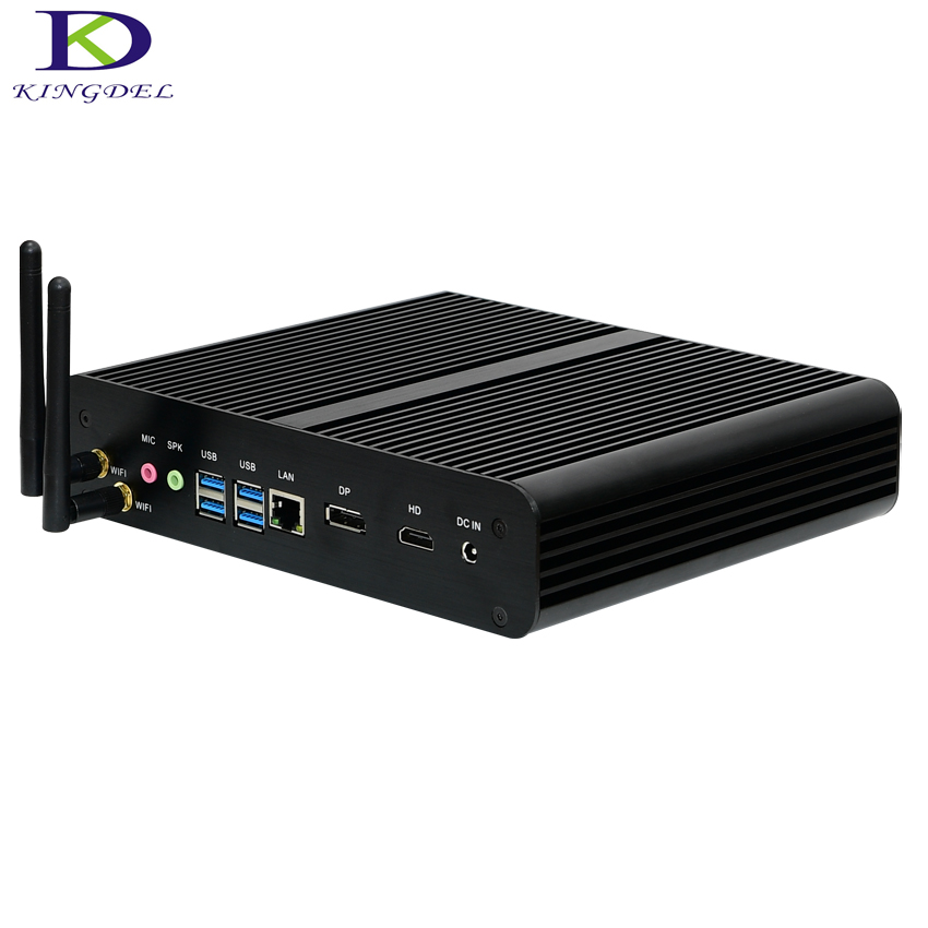 Kingdel Intel I7 6th Gen. SKYLAKE I7-6600U,Mini PC,Fanless Nettop With 16G RAM,256G SSD,DP+HDMI+4USB3.0,Card Reader,Wifi,Win 10