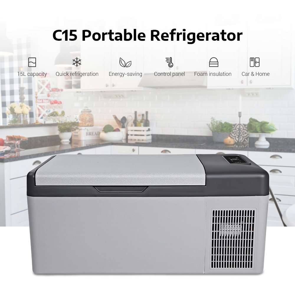 C15 réfrigérateur de voiture Congélateur 15L Portable pour Accueil Pique-Nique Camping Partie Résistant Aux Chocs Avec Portable Poignées-20 Deg. C Réfrigérateur