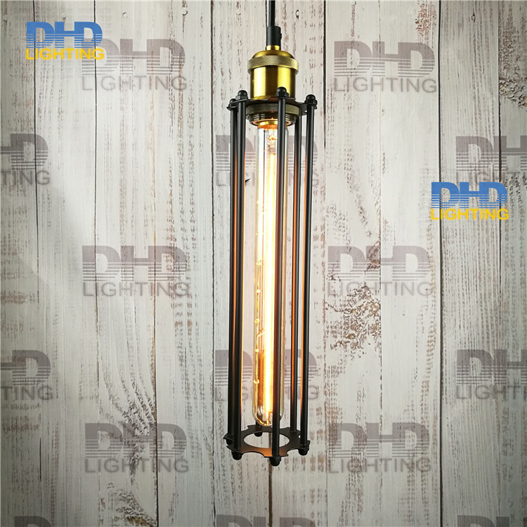 Free shipping D80mmxH300mm black iron long cage industrial pendant lamp vintage brass socket lighting fixtures for home 10pcs wholesale price d80mmxh300mm black iron long cage industrial pendant lamp vintage brass socket lighting fixtures for home
