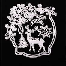 1Pc Cutting Dies Silver Metal Dies Cutting for Scrapbooking Christmas Weath with Deer Christmas Tree Flowers Card Decoration(China)