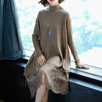 2018 Spring Fashion Gown Long Lace Overknee Dress Knitting Casual For Women Long Sweater Skirt Suit-dress Dresses Big Sizes