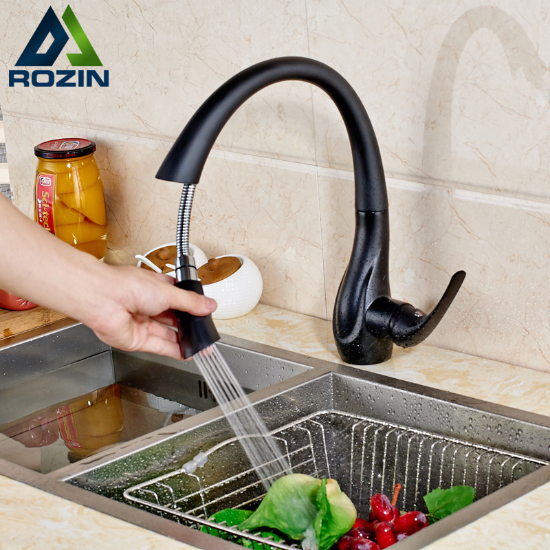 Deck Mounted Pull Out Spout Bathroom Kitchen Faucet Single Handle one Hole Black Stream Sprayer Kitchen Mixer Taps new pull out sprayer kitchen faucet swivel spout vessel sink mixer tap single handle hole hot and cold