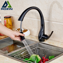 Deck Mounted Pull Out Spout Bathroom Kitchen Faucet Single Handle one Hole Black Stream Sprayer Kitchen Mixer Taps