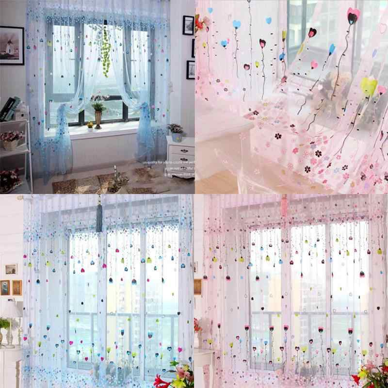 Cartoon Balloon Floral Tulle Window Curtain For Living Room Pink/Blue Curtains For Children Girls Bedroom Living Rom Home Decor