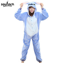 Women Onesie Cartoon Stitch Pajama Party Suit Blue Funny Animal Winter Sleepwear Warm Soft Festival Disguises Role Play Jumpsuit