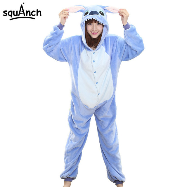 Women Onesie Cartoon Stitch Pajama Party Suit Blue Funny Animal Winter Sleepwear Warm Soft Festival Disguises Role Play Jumpsuit