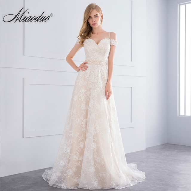 miaoduo 2018 new a line champagne wedding dresses court train