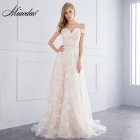 Miaoduo 2018 New A Line Champagne Wedding Dresses Court Train Vestido De Novia Customized Appliques Lace Crystal wedding dress
