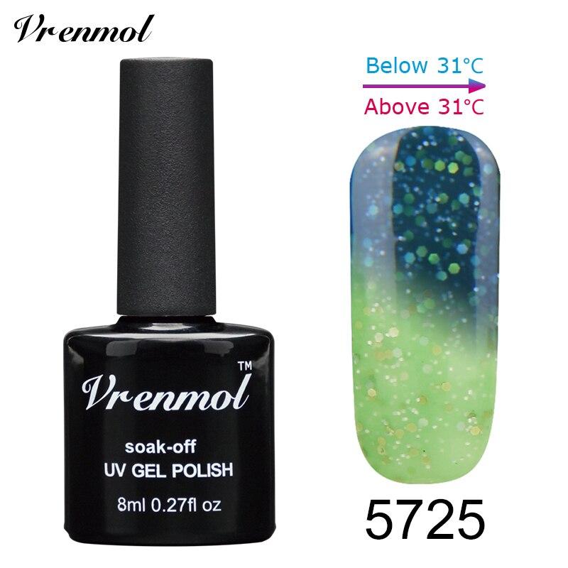 Vrenmol, 1 шт., меняющий цвет, замачиваемый УФ-гель, цвета, лак Verniz, Термальный, меняющий настроение, Гель-лак для ногтей - Цвет: 5725