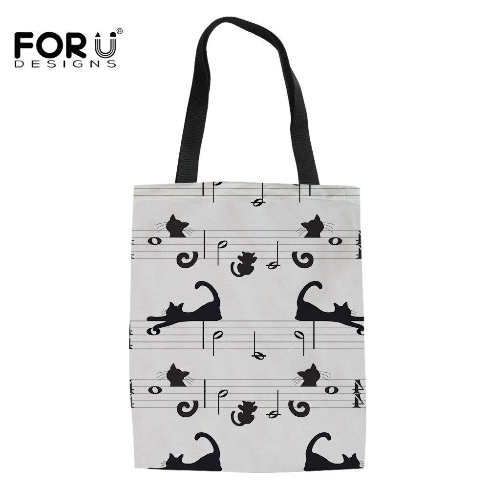 FORUDESIGNS Fashion Women Shoulder Bag Music Notes Cat Print Canvas Clutch Travel Casual Handbag Large Tote Female Shopping Bag