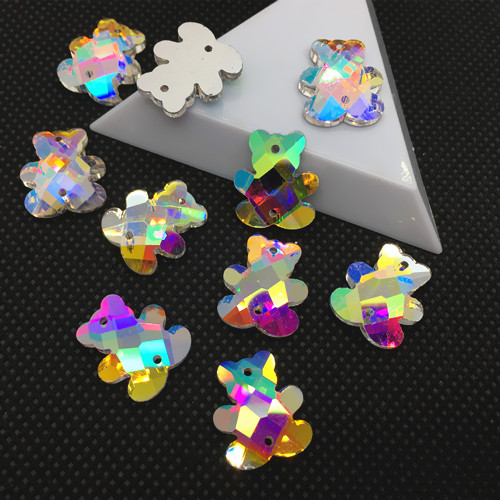 Buy 16x19mm Panda /Animal shape Sew On Stones Crystal AB color Flatback Sewing Crystal Silver Base 2 holes for $7.09 in AliExpress store