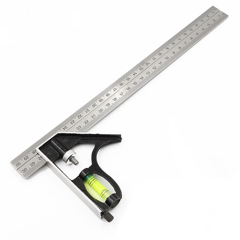 300mm(12'')Adjustable Engineer Combination Try Square Set Right Angle Ruler Stainless Steel Multi-functional Measuring Tool New 300mm multifunctional combination square ruler stainless steel horizontal removable square ruler angle square tools metal ruler