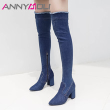 ANNYMOLI Fall Thigh High Boots Women Slim Denim Square High Heels Over the Knee Boots Zip Pointed Toe Long Shoes Female Size 40 недорого