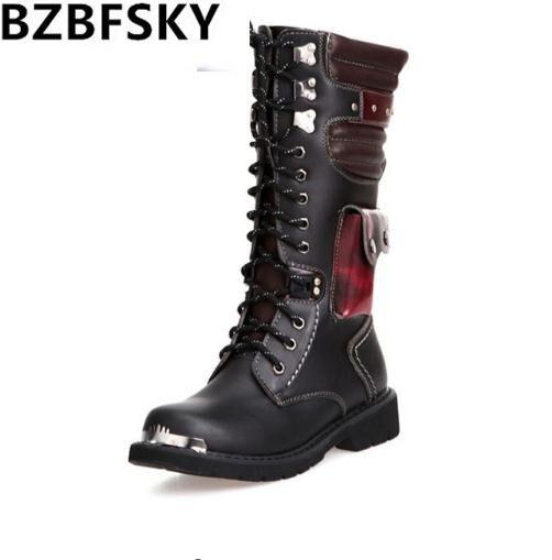 BZBFSKY chaussures hommes boucle à lacets haute Combat bottes printemps mode 2018 hommes chaussures britannique métal militaire moto bottes 34 cm