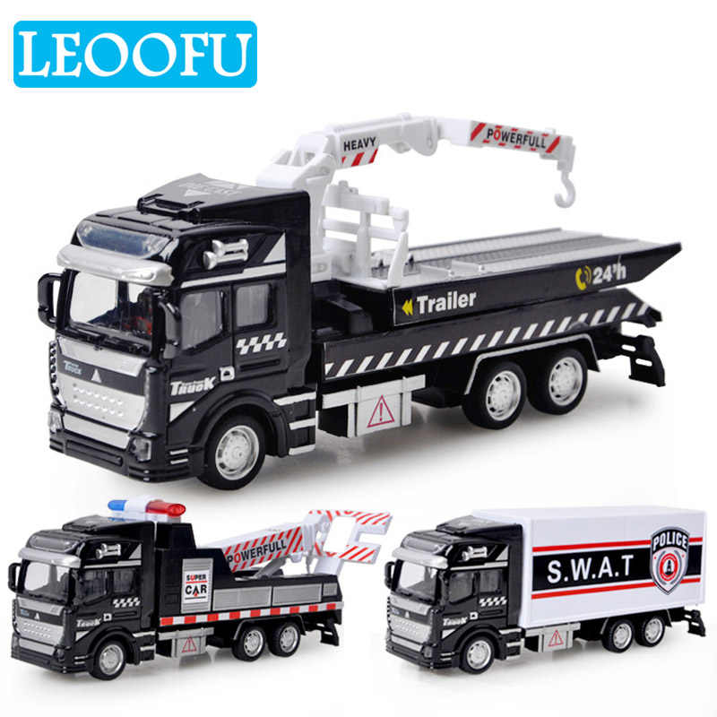LEOOFU 1:48 alloy car wrecker roadside assistance polic series back to power car model toy gift for children birthday gift