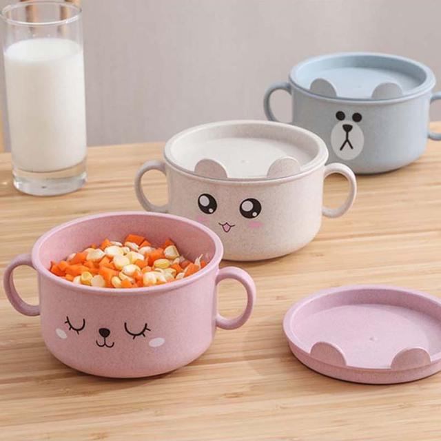 Children's Cartoon Wheat Straw Bowl