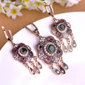 New Arrival Turkish Vintage Jewelry Sets Sculpture Flowers Necklace & Earrings Resin Crystal Anti Silver Women Dress Sets Bijoux