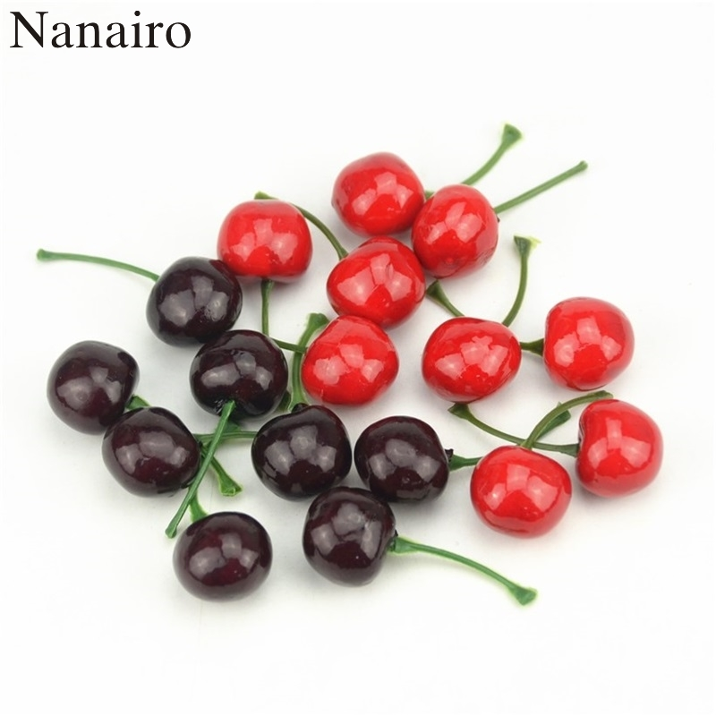 20Pcs Mini Simulation Small Cherry Foam Plastic Fake Artificial Fruit Model Party Kitchen Wedding Christmas Tree Decoration
