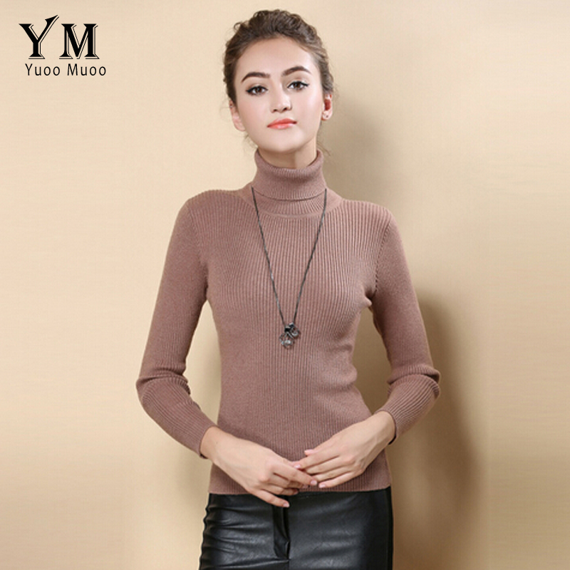 YuooMuoo High <font><b>Quality</b></font> <font><b>Women</b></font> Sweater New Turtleneck Pullover Winter Tops Solid Cashmere Sweater Autumn Female Plus Size Sweater